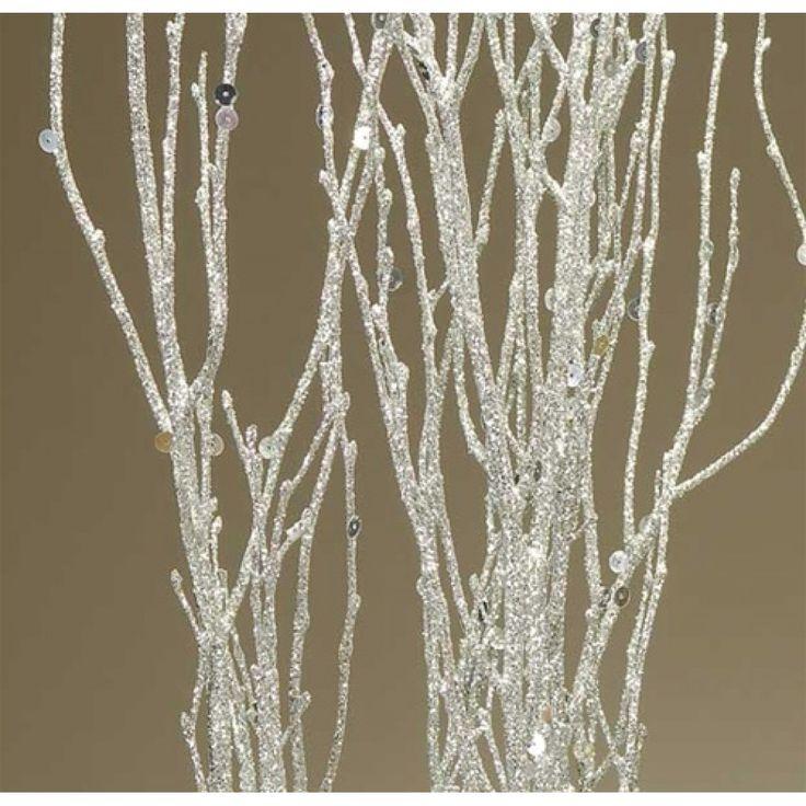 Sequin glitter birch branches silver sparkle ft bulk