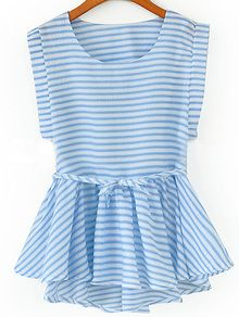 Sleeveless Striped Peplum Hem Top