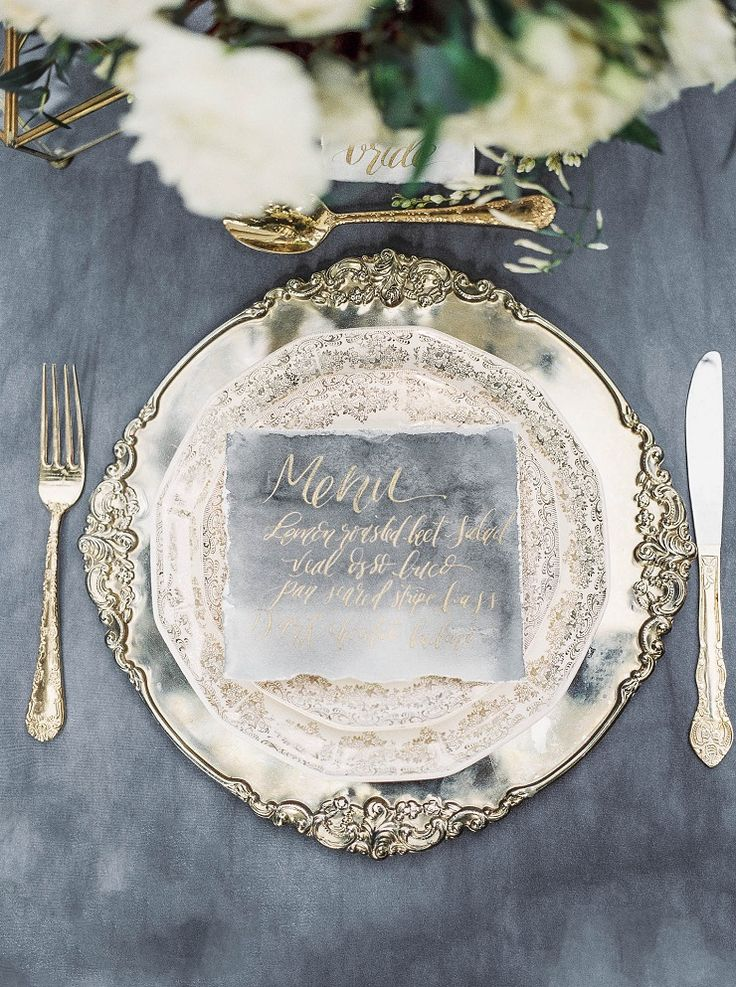 Charming Old World Wedding | Dusty blue and gold wedding table decoration | itakeyou.co.uk