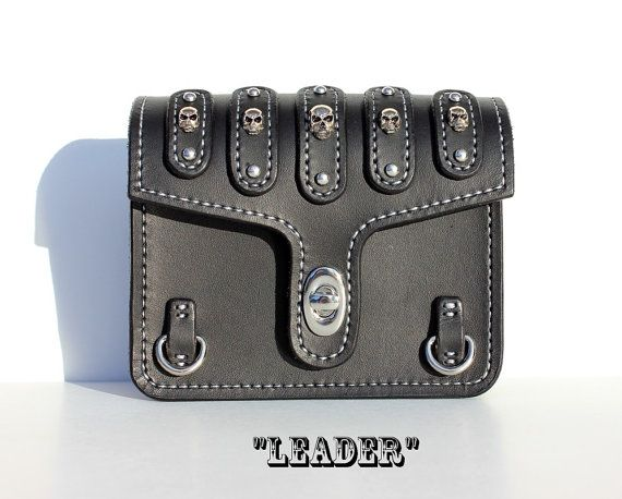 Belt Pouch Bikers Accessory with Skull by TaurusCustomLeather