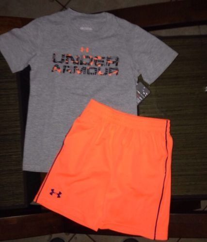 NWT Under Armour Heatgear Shirt & Shorts Toddler Boys Outfit - Size 4