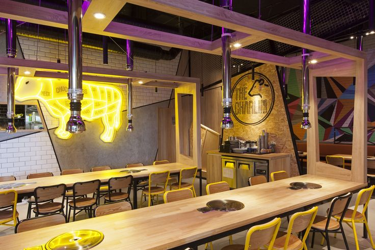 The Charlim, a Korean BBQ with modern geometrical twist. #interior #design #retaildesign #retail #hospitality #timber #BBQ #architecture #designer  #shop #cow #lighting  #signage #graphics #geometric #korean