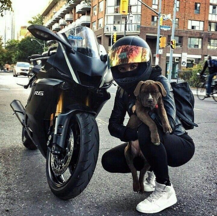 Black Yamaha R6 Motorcycle Biker Girl and Dog #yamaha #Motorcycle #bike #bi