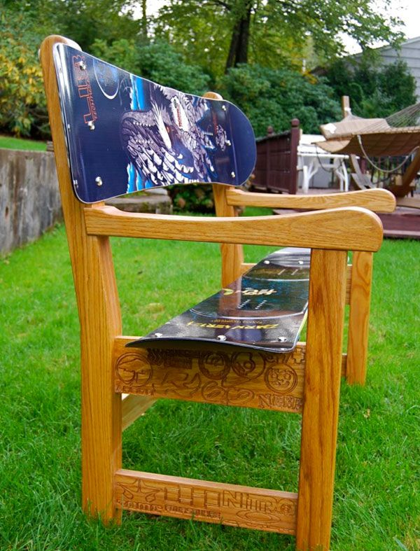 very cute and a great way to use old snowboards that are laying around.--What a neat idea!