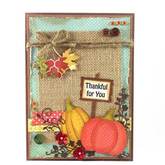 Thanksgiving Card Making Ideas Part - 41: Handmade Thanksgiving Card - Thankful For You - Pumpkin - Fall - Autumn - Thanksgiving  Card. - Greeting Cards