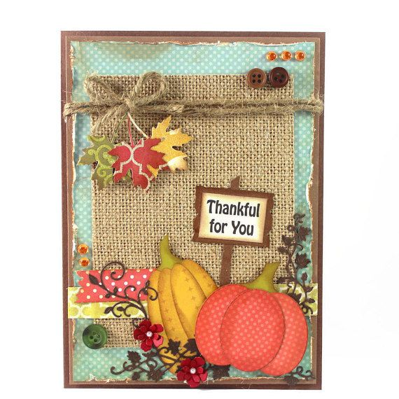 Handmade Thanksgiving Card - Thankful for you - Pumpkin - Fall - Autumn - Thanksgiving Card. - Greeting Cards -