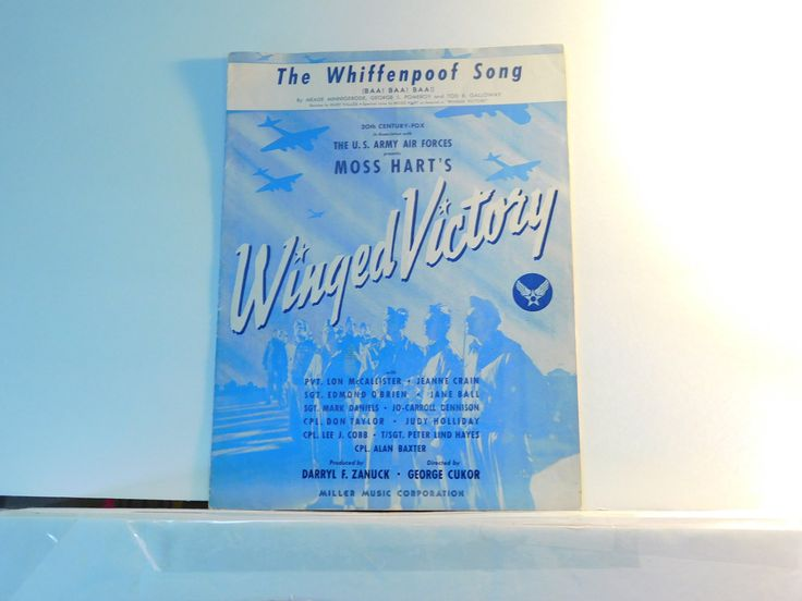 The Whiffenpoof Song (Baa! Baa! Baa!) vintage sheet music from Winged Victory  1944 by julesartstuff on Etsy