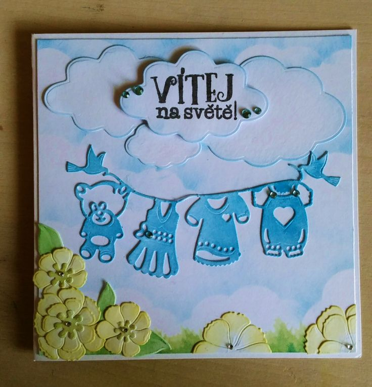 A další pro Dobrotety :) #childrencard #cardmaking #papercard #handmade #welcombaby #blue #flower #itisboy #baby #children