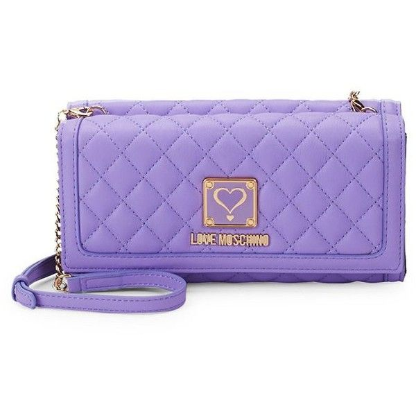33b5b9cddda Love Moschino Quilted Snap Continental Wallet ( 100) ❤ liked on Polyvore  featuring bags