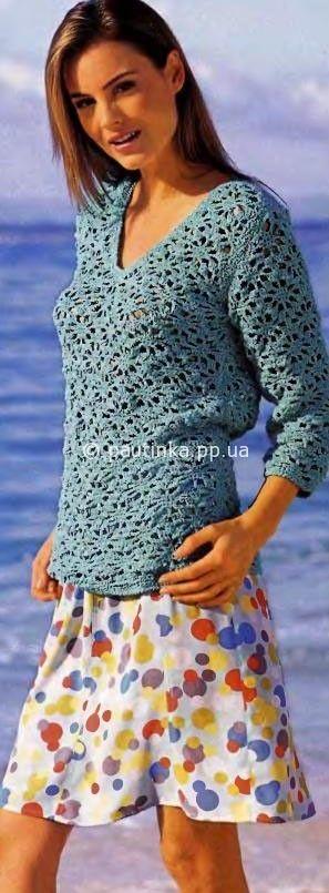 Jersey de encaje con cuello en V
