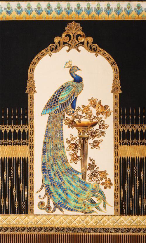 black peacock panel gold fabric Beau Monde Robert Kaufman