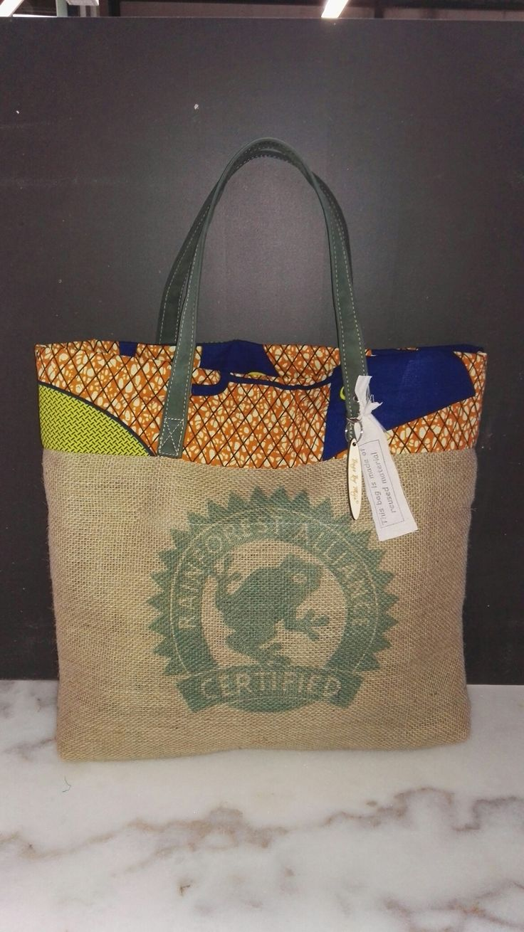 Bag made of #coffee bag leather and african printed cotton. #Recycled product.