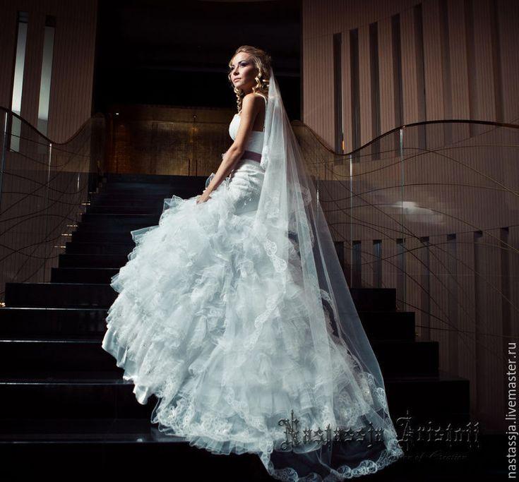 """Купить Свадебная фата """" Evgenia"""" - белый, свадебные аксессуары, свадебная фата, фатин мягкий"""