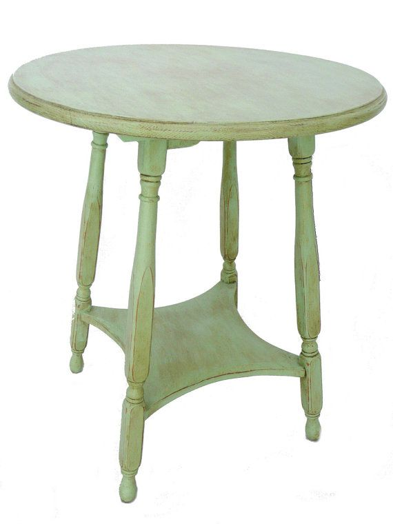 Vintage Parlor Side Table in Pistachio Green by OakeyCreekVintage
