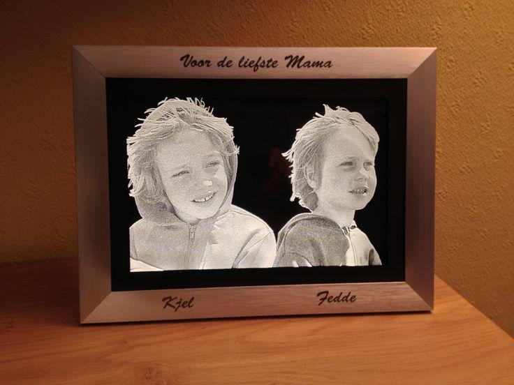 De display van 2 broers maar hier ingelijst waarbij de ledverlichting is ingebouwd. Tevens is de lijst zelf gegraveerd