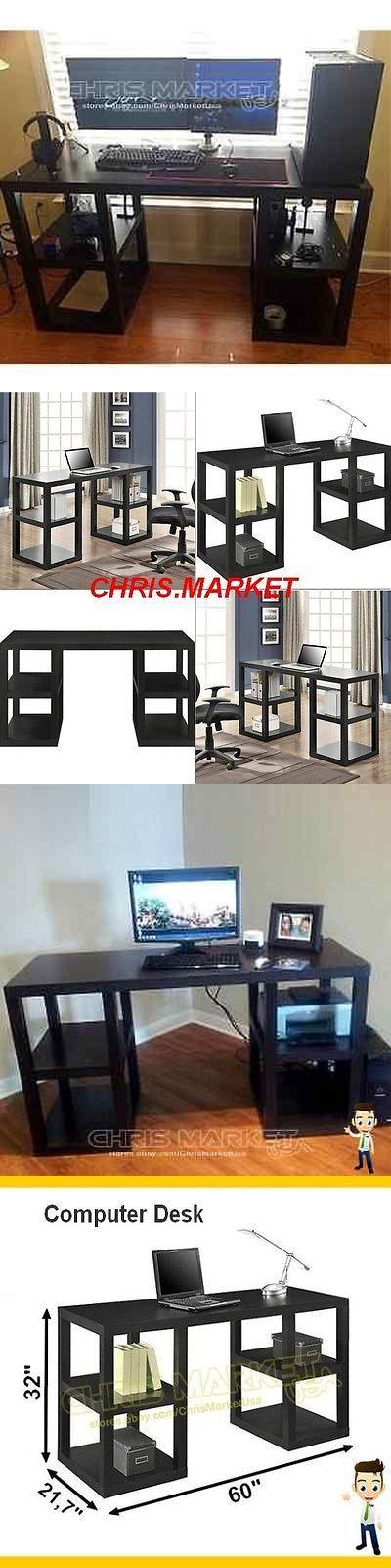 Office Furniture: Computer Desk Home Office Double Pedestal Parsons Desk Furniture Modern Black BUY IT NOW ONLY: $106.68