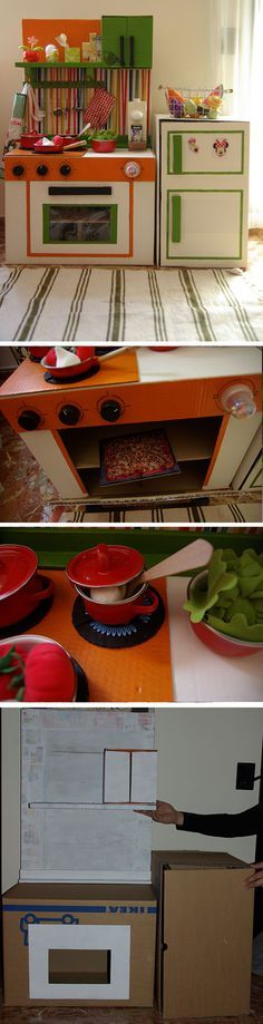 Cocina de juguete hecha con cajas de cartón.