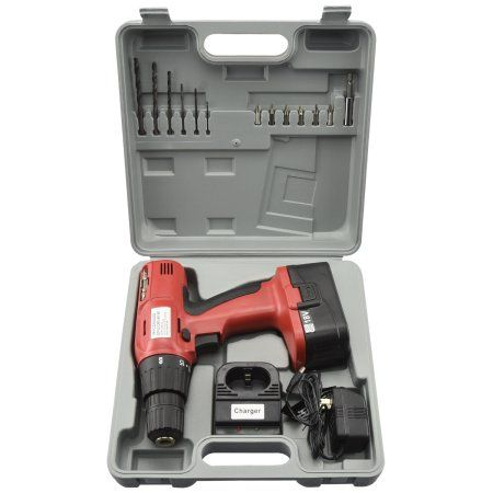 18 Volt Cordless Drill With Case 18V Power Cord Less