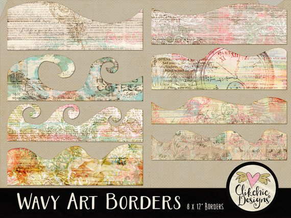 Shabby Digital Scrapbook ClipArt Borders by ClikchicDesign on Etsy