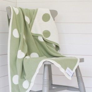 Green Spotty Reversable Cotton Baby Blanket