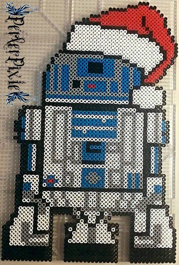 Santa Hat R2 D2 - Star Wars Christmas hama perler beads by PerlerPixie on DeviantArt