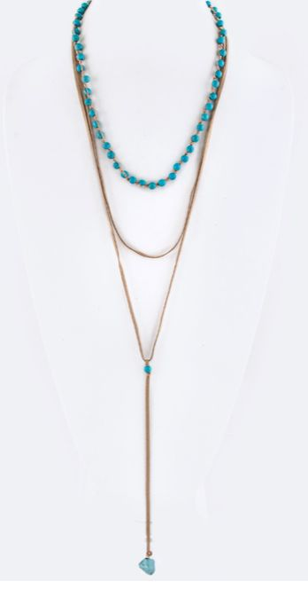 Semi Precious Beads & Drop Nagget Layer Necklace