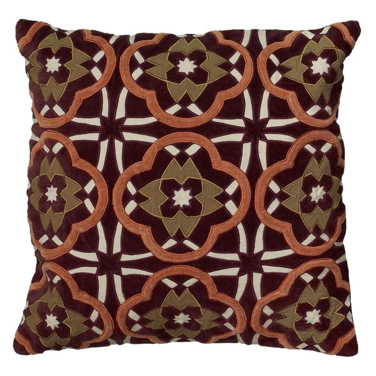 Rizzy Home Applique and Embroidered Ornate Checker Board Accent Pillow - PILT05867PLOR1818