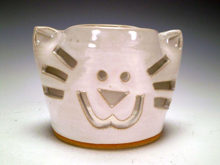 Cat Candle Holder, Tea Light Luminary Votive, Pencil Holder, Toothbrush Holder, Ready to Ship by spinningstarstudio on Etsy