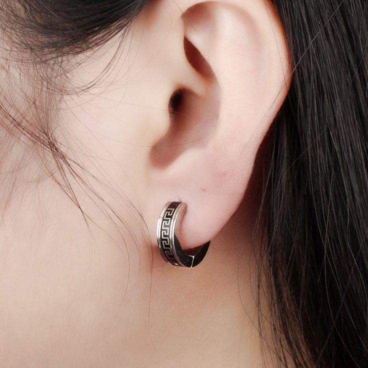 Unisex Punk Stainless Steel Ear Stud Geometry Pattern Earrings for Men Women Gift online - NewChic