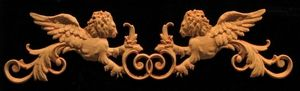 Wood Carved Onlay - Venetian Winged Lions