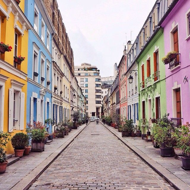 Would you ever guess that this delightfully colorful street is in Paris?! Photo courtesy of Instagram's kateallan_ on the Rue Cremieux.