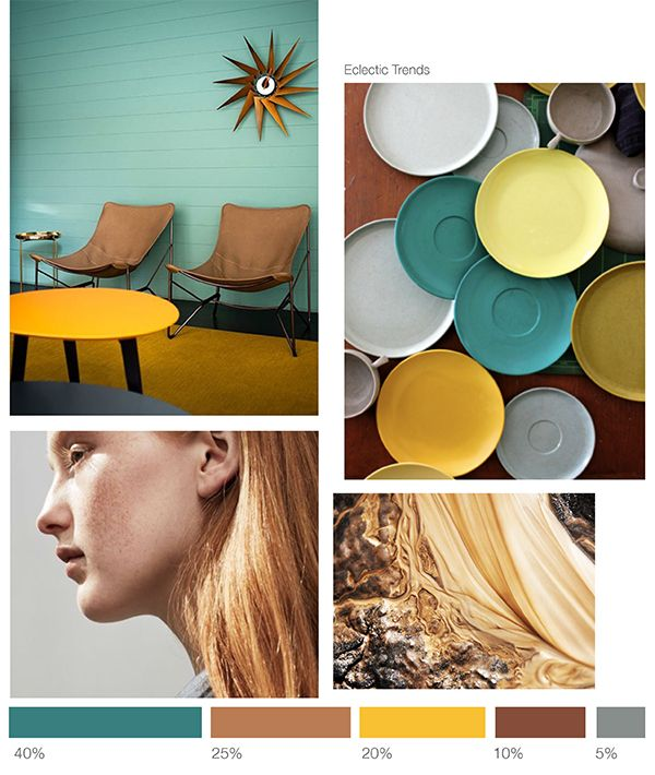 Color inspiration n#3 : Teal + Terracotta + Gold - Eclectic Trends #moodboard