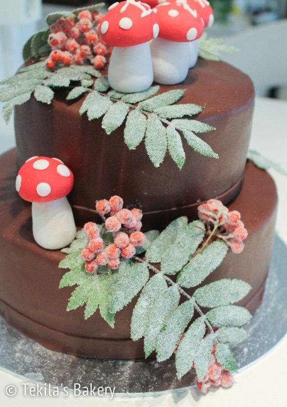 #autum cake with rowan leafs and berryes.