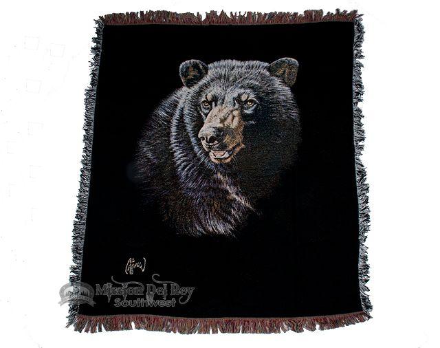 "Wildlife Southwestern Throw Blanket 50""x60"" -Bear - Mission Del Rey Southwest"