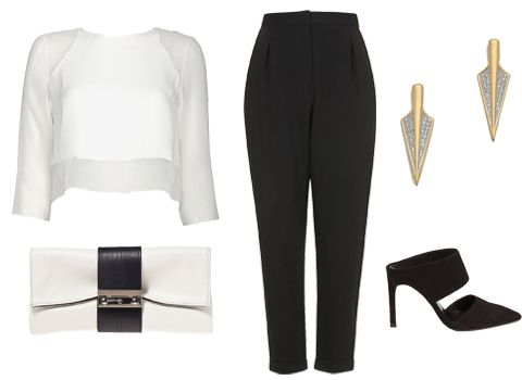 #HowToWearIt White: Elizabeth and James top, $255, intermixonline.com; Topshop trousers, $44, topshop.com; Joanna Maxham clutch, $295, ahalife.com; Noir Jewelry earrings, $60, shopbop.com; Whistles mules, $255, whistles.com #InStyle