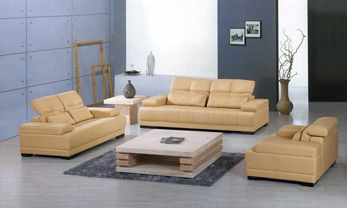 Yellow leather sofa  Classic 1 2 3 Large Size