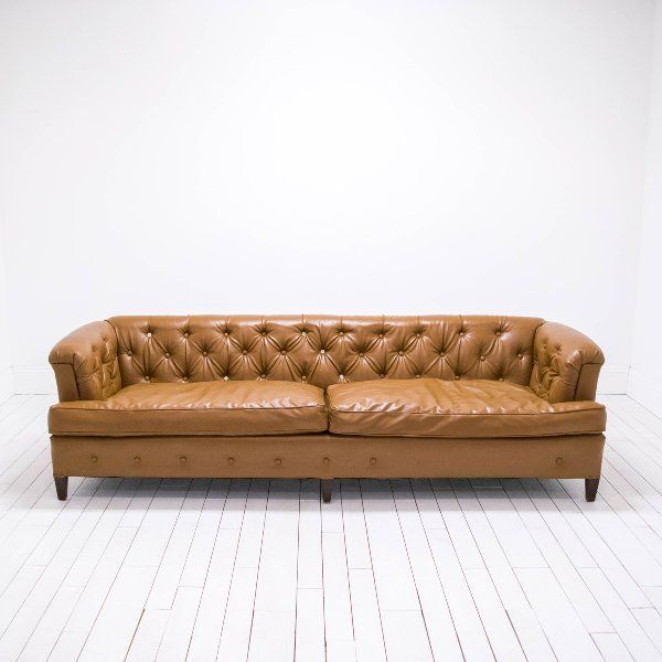 Saddle Brown Vegan Leather Sofa | Modern Chesterfield Sofa ...