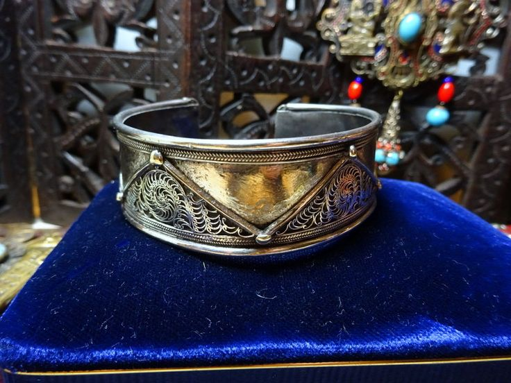 Antique/Vintage Tribal Silver Filigree Overlay Cuff Bangle