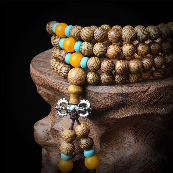 Sandalwood Buddhist Buddha Meditation 108 beads Wood Prayer Bead Mala Bracelet Women Men jewelry