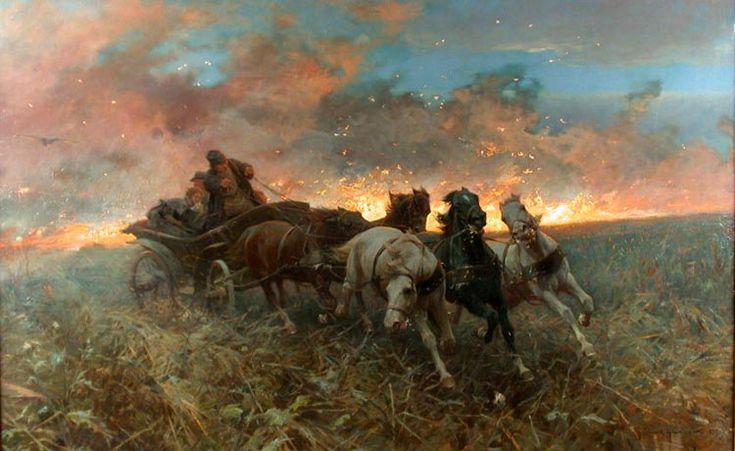 """Zygmunt Ajdukiewicz """"Płonący step"""", olej na płótnie, 98 x 157 cm, własność prywatna"""