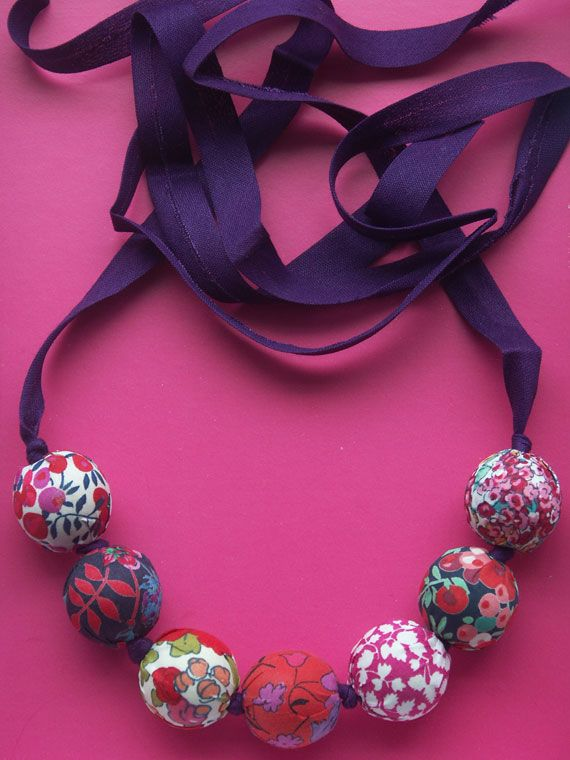 Liberty fabric bead necklace made by & via @Eirlys Ness Ness