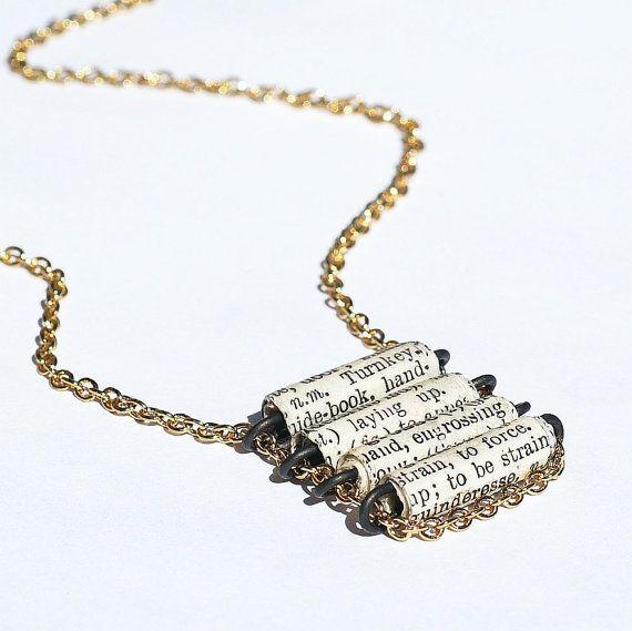 Papel el Diccionario francés de joyería collar, collar del grano del papel, joyería francesa, escalera collar, joyería de papel, libro regalo de amante