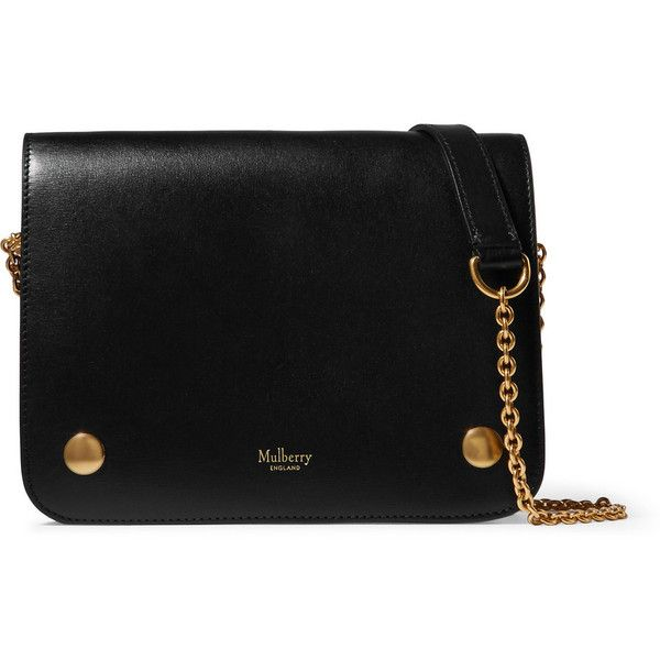 Mulberry Clifton leather shoulder bag (€1.360) ❤ liked on Polyvore featuring bags, handbags, shoulder bags, black, chain strap handbag, 100 leather handbags, real leather purses, mulberry handbags and shoulder bag purse