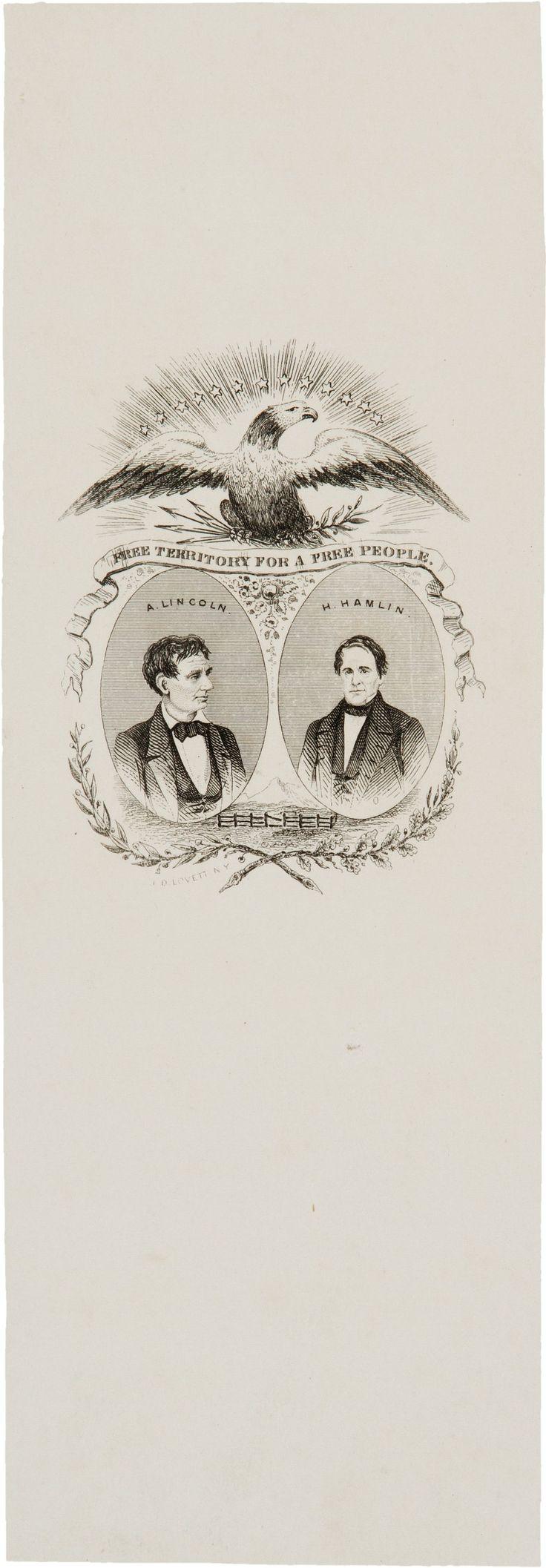 "Abraham Lincoln & Hannibal Hamlin ""Free Territory"" Presidential Campaign Paper Ribbon (1860) [$750 (2017)]"