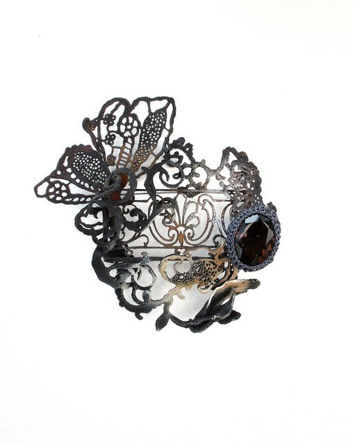 Brooch | Elise Hatlø.  From the series 'Ghost Town', 2010. Electroformed and patinated silver, smokey quartz
