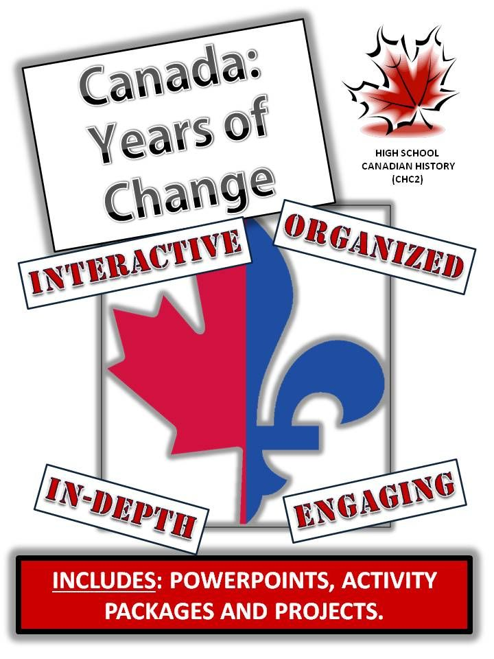 This comprehensive and creative unit covers the time period in Canadian History from 1960 to 2000. The themes covered include: - French-English Relations - Canadian Identity - Canada and the 1980s - Canada and Peacekeeping