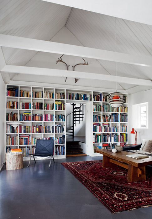 rug and coffee table, and books!!: Bookshelves, Spaces, Living Rooms, Spirals Stairca, Interiors, Antlers, Dreams House, Book Shelves, Places