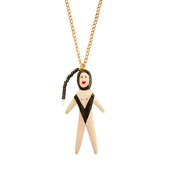 the  SWIMMER  DOLL NECKLACE  statmenent jewelry by omg