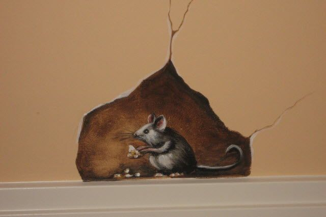 Trompe L'Oeil brick wall Murals | Trompe L'Oeil Wall Mural: Mouse in the House!