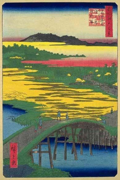 <名所江戸百景 高田姿見のはし俤の橋砂利場 :  TAKADA SUGATAMINOHASHI OMOKAGENOHASHI JARIBA>  GRAVEL PIT FROM SUGATAMI BRIDGE AND OMOKAGE BRIDGE AT TAKADA  HIROSHIGE UTAGAWA  1797-1858  Last of Edo Period